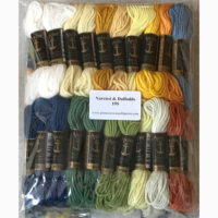 Printed needlepoint kit with wool