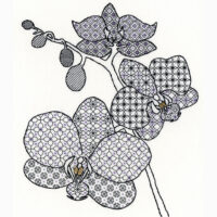 Orchid blackwork kit