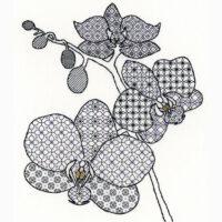 Orchid blackwork kit