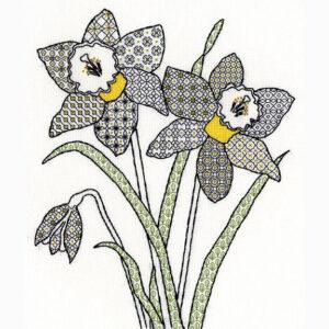 Blackwork daffodils