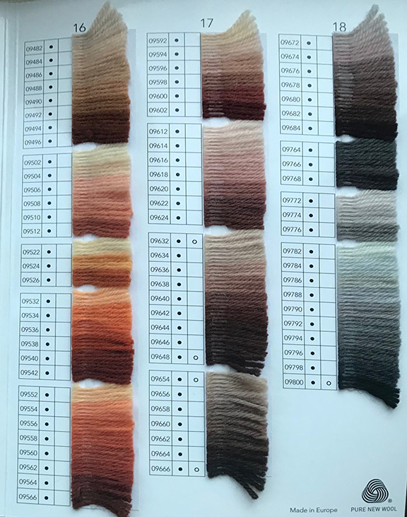 Anchor wool shade card